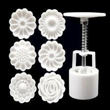 6 Rose Flower Stamps Moon Cake Decor Mould Round Mooncake Mold DIY Tool 50g EAV