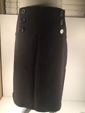Valía Little Black Below The Knee Skirt 6 Front Faux Buttons. Size 11.