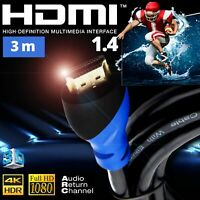 Cable HDMI 1.4 3m UHD HDR 3D 1080p 4K High Speed Ethernet ARC PS3 PS4 XBox HD TV