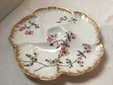 CHARLES FIELD HAVILAND Limoges PINK FLOWERS pattern OYSTER PLATE - 8-3/4""