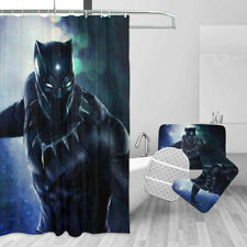 Marvel Black Panther Bath Rugs Shower Curtain Contour Toilet Lid Cover Set 4PCS