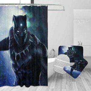 Marvel Black Panther Bath Rugs Shower Curtain Contour Toilet Lid Cover Set 4PCS