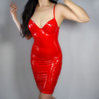 lldllnt latex dress bodycon stretch faux patient leather