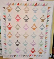 "VINTAGE  LARGE BASKET QUILT  89"" by 73"" AMISH MADE 1980s"