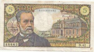 France Billet 5 Francs Pasteur f.4-11-1966.F.