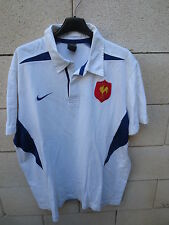 VINTAGE Maillot rugby QUINZE de FRANCE NIKE coton shirt XL blanc away rare 2003