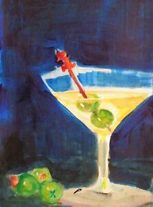 martini drink olive still life 9x6 collectible watercolor painting art Delilah