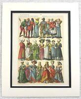 1895 Antico Stampa 16th Secolo Etnico Tedesco Costume Abito Donna Moda