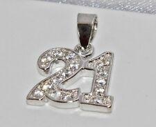 """Plata esterlina sólida (925) conjunto de piedra"""" 21st Cumpleaños """"Colgante"""