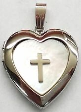 ***14K WHITE GOLD LOCKET***MOTHER OF PEARL WITH CROSS*** 18mm***BRAND NEW**