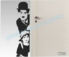 WALL STICKERS ADESIVI MURALI COME QUADRO MODERNO CHARLIE CHAPLIN CINEMA