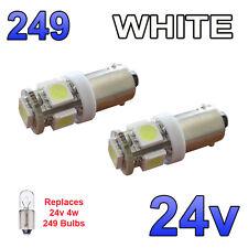2 x White 24v LED Side Light 249 BA9s T4W 5 SMD Bayonet Bright Bulbs HGV Truck