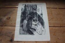 Kohle / Bleistift Zeichnung - Xim - monogrammiert - Zeuge bei einem Unfall  /S50