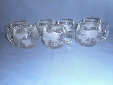 "Lot of 7 Vintage Nescafe World Globe Mugs/Cups 3"" Tall X 3"" Dia. Clear Glass"