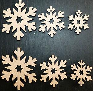 laser cut wooden snowflakes shapes xmas Embellishments Craft 40,50,60,80,100 mm