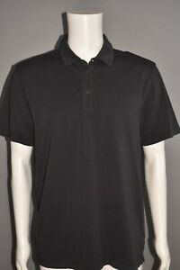 VINCE NEW $110 Garment Dyed Cotton Polo Shirt Washed Black Men's Large