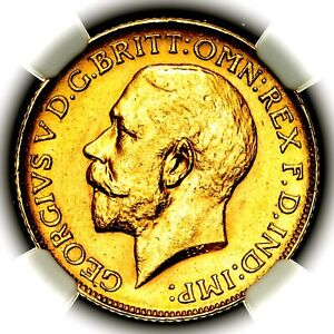 Rarity 4 1913 C George V Great Britain Canada Ottawa Gold Sovereign NGC MS62
