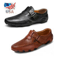 US Men's Driving Boat Shoes Leather Moccasins Mesh Slip on Outdoor Loafers Flats