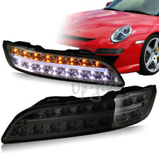 For 04-09 Porsche 911 997 Smoke Housing DRL LED Turn Signal Bumper Lights Lamps