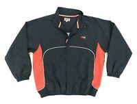 "ATA Martial Arts Men Large 48"" Full Zip Athletic Windbreaker Jacket Black Red"