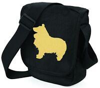 Sheltie Dog Bag Metallic Gold Silver on Black Shoulder Bags Sheltie Mothers Day