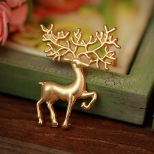 Gold Christmas Animal Elk Deer Brooch Pin Party Gift For Women Lady