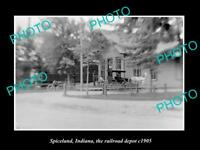 OLD LARGE HISTORIC PHOTO OF SPICELAND INDIANA, RAILROAD DEPOT STATION c1905