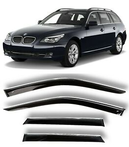 Chrome Trim Side Window Visors Guard Vent Deflectors For BMW 5 Touring 2002-2010
