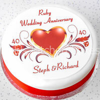 Ruby Wedding Anniversary Cake Topper - Personalised - 40th Wedding -  Icing
