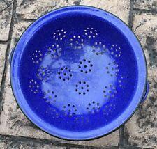 """Vintage Colander Blue Speckled Enamel Ware Granite WareCobalt Blue 9 1/2"""""""