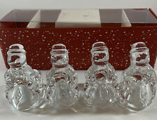 WILLIAMS SONOMA Snowman Tiny Taper Candle Holders Clear Glass