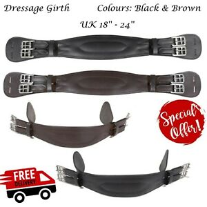 Soft 'Giovanni' Padded Anatomical Leather Dressage Girth Eventing Brown & Black