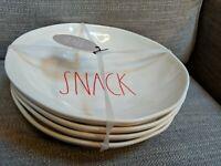 "Rae Dunn 4-Piece Melamine Pasta Bowl Set - 8.5"" - ""SNACK"" - Red Writing"