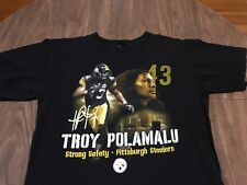 Troy Polamalu Pittsburgh Steelers Strong Safety Large Black T Shirt NFL Football