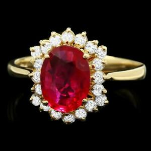 $2400 CERTIFIED 14K YELLOW GOLD 2.00CT NATURAL RUBY .40CT UNTREATED DIAMOND RING