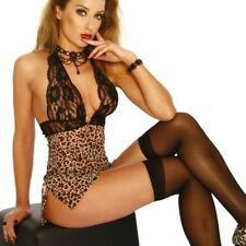 Wild LEOPARD & LACE Sexy MICRO Mesh O-RING Halter CHEMISE Lingerie G-STRING 8-10