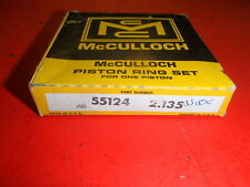 "vintage chainsaw mcculloch nos piston ring set 55124 2.135"" .010 super 250"