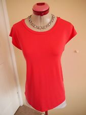 METALICUS Bright Coral Red TOP Size M / L 14 Stretch Cap Sleeves Travel Timeless