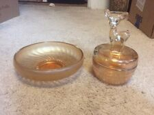 Lot of Vintage Carnival Glass Deer Covered Dish Candy Dish