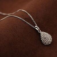 Women Rhinestone Crystal Gold Silver Plated Teardrop Long Chain Pendant Necklace