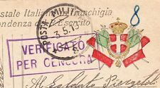 Italy WWI Censor Soldier Mail 1918 Color Italian Flags Crown Shield Postcard 9w
