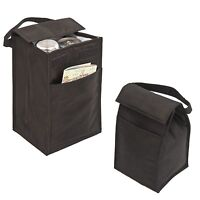 """10"""" Recycled Insulated Lunch Bag Box with Pocket Cans Reusable Ego bags, Black"""