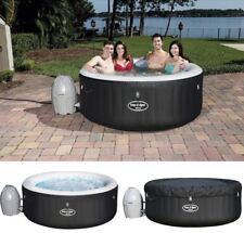 Lay-Z-Spa Miami Large 4 Person Inflatable Airjet Heated Round Hot Tub - Black