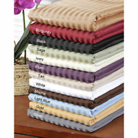 Full XL Size 1 PC Fitted Sheet 1000 Thread Count Egyptian Cotton Striped Colors