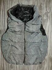 Calvin Klein Women's GRAY print Performance Vest Water Repellent Hooded Zipper