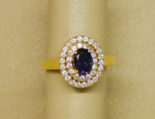 14K 0.68 carat Dark Natural Tanzanite Ring Size 8.7 w/cut Zirconia accent stones