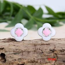 Cute New Silver White & Pink Enamel Button Style Stud Earrings w/Omega Clasp