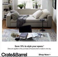 Crate and Barrel 15% off entire purchase Expires 1/5/2021