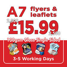 2500 A7 Full Colour Single Sided Flyers / Leaflets Printed 130gsm Gloss