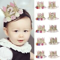 Baby Girls Birthday Headband Crown Flower Tiara Party Hair Bands Accessories